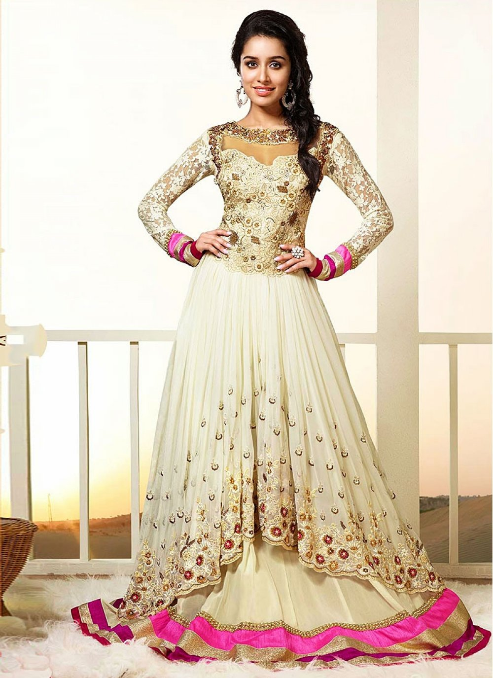 Shraddha Kapoor Cream Faux Georgette Net Anarkali Suit