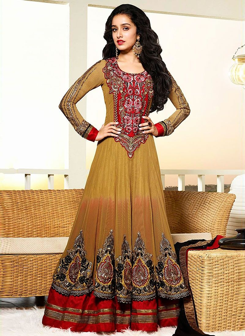 Shraddha Kapoor Net Brown Embroidery Anarkali Suit