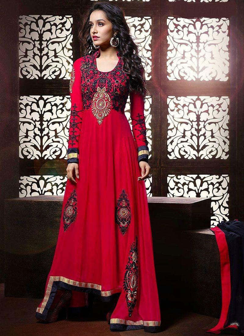 cf3cfd39eb6c Shraddha Kapoor Red Resham Work Georgette Anarkali Suit -