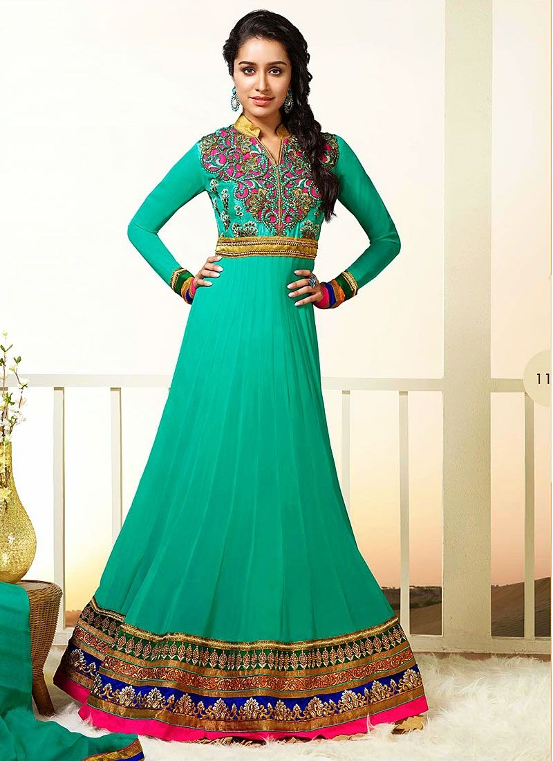 Shraddha Kapoor Sea Green Cut Work Georgette Anarkali Suit