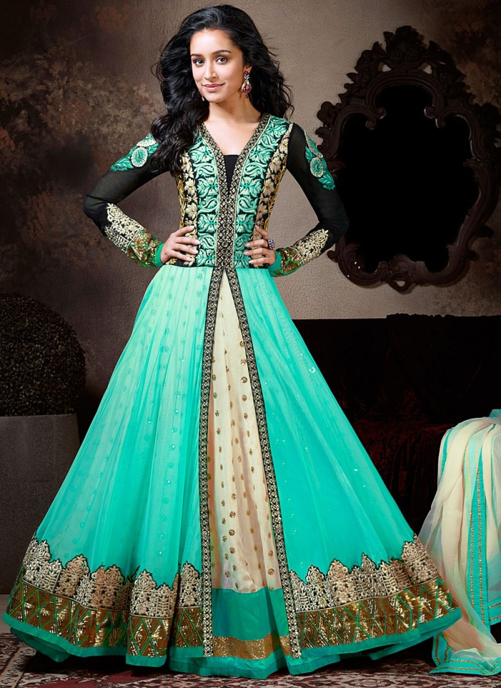 Shraddha Kapoor Turquoise Anarkali Suit