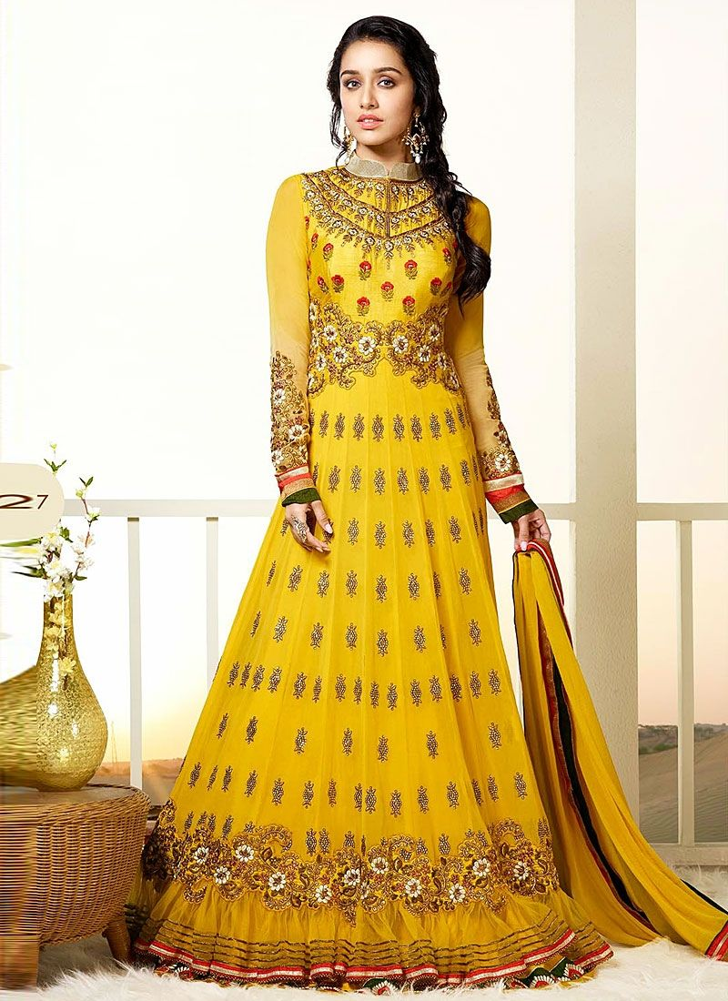 Shraddha Kapoor Yellow Resham Border Work Georgette Anarkali Suit