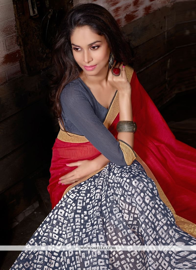 Bhagalpuri Silk Print Work Casual Saree
