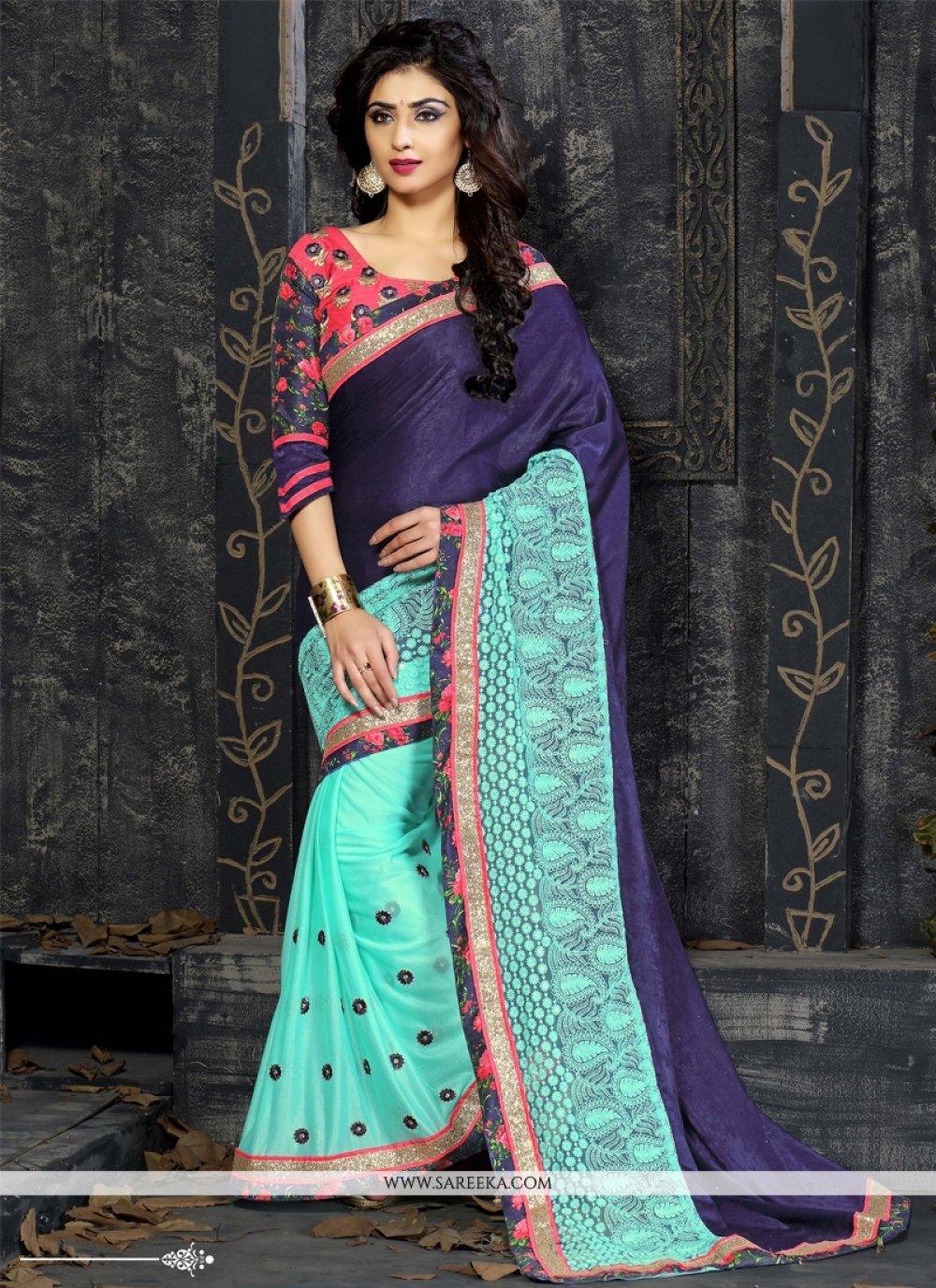 Blue Velvet Designer Saree