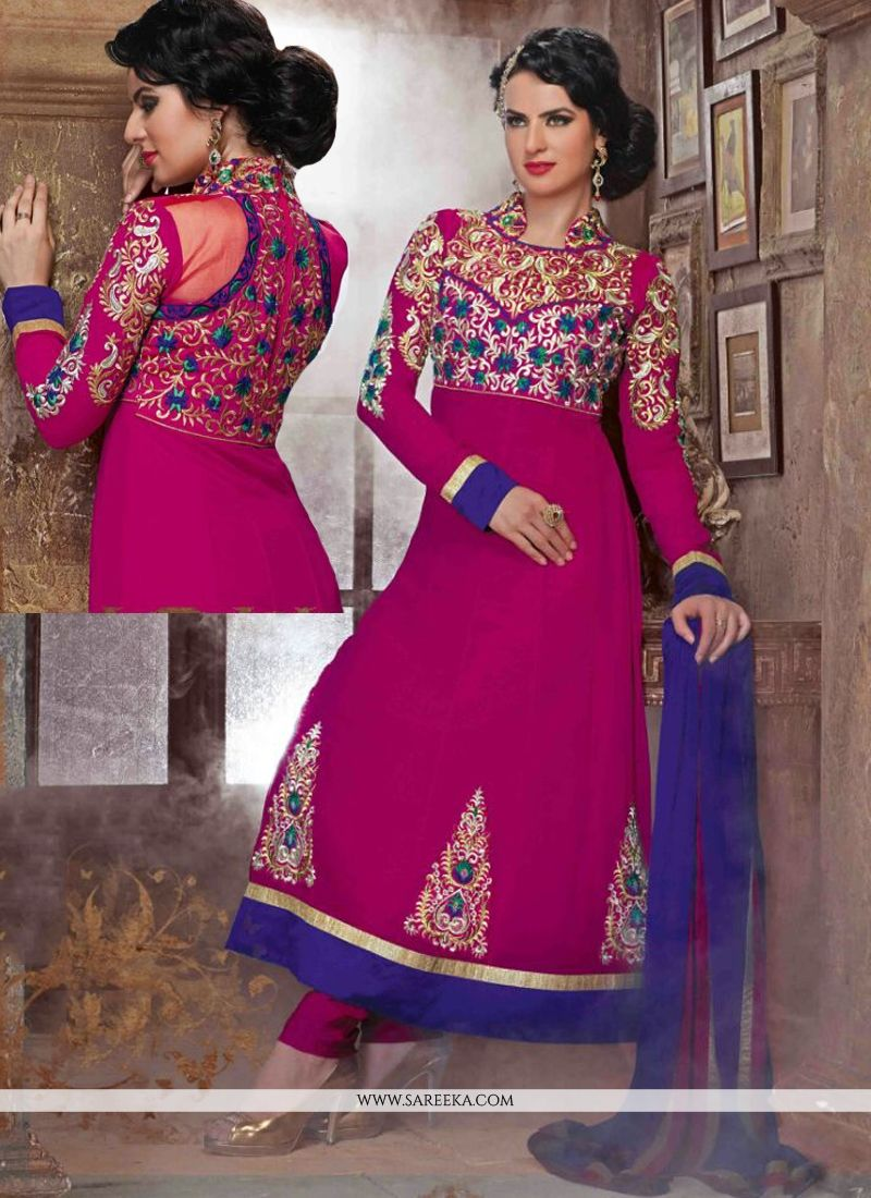 Embroidered Work Hot Pink Georgette Anarkali Suit