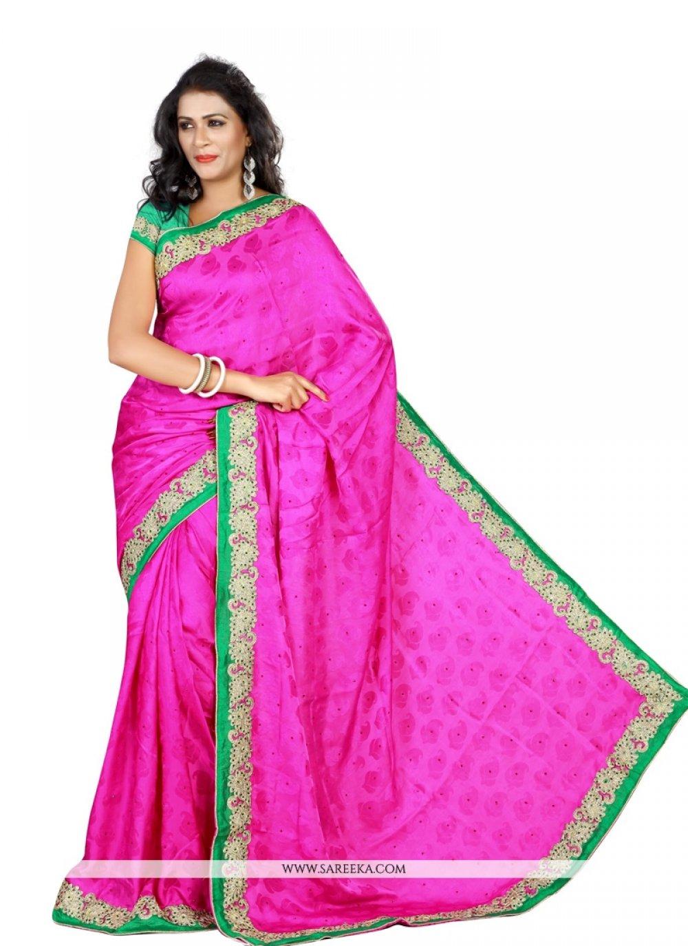 Hot Pink Jacquard Designer Saree
