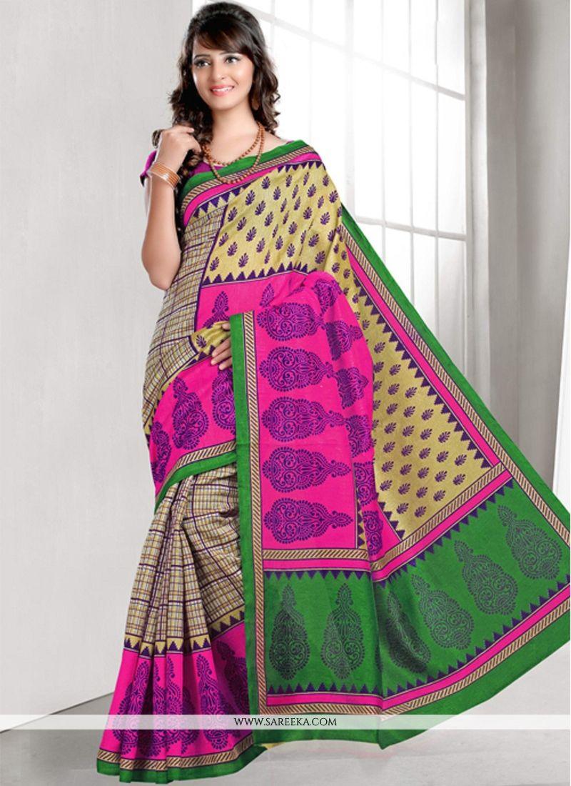 Multi Colour Bhagalpuri Silk Casual Saree