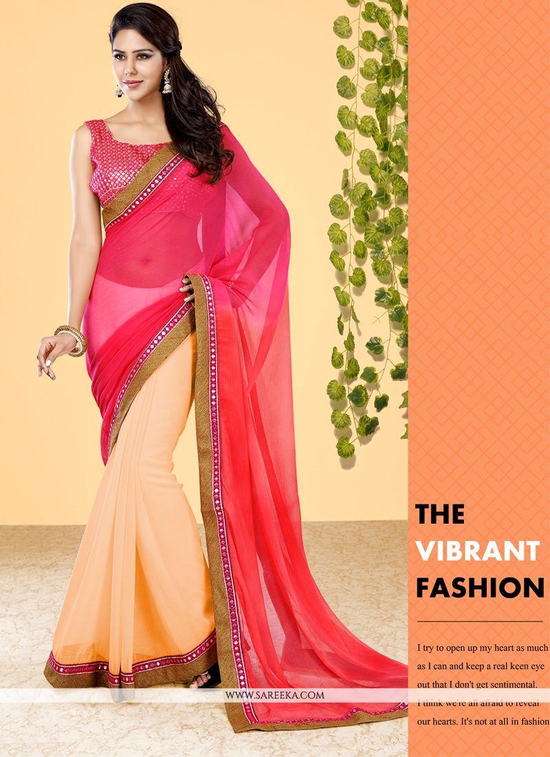 Patch Border Work Pink Designer Half N Half saree