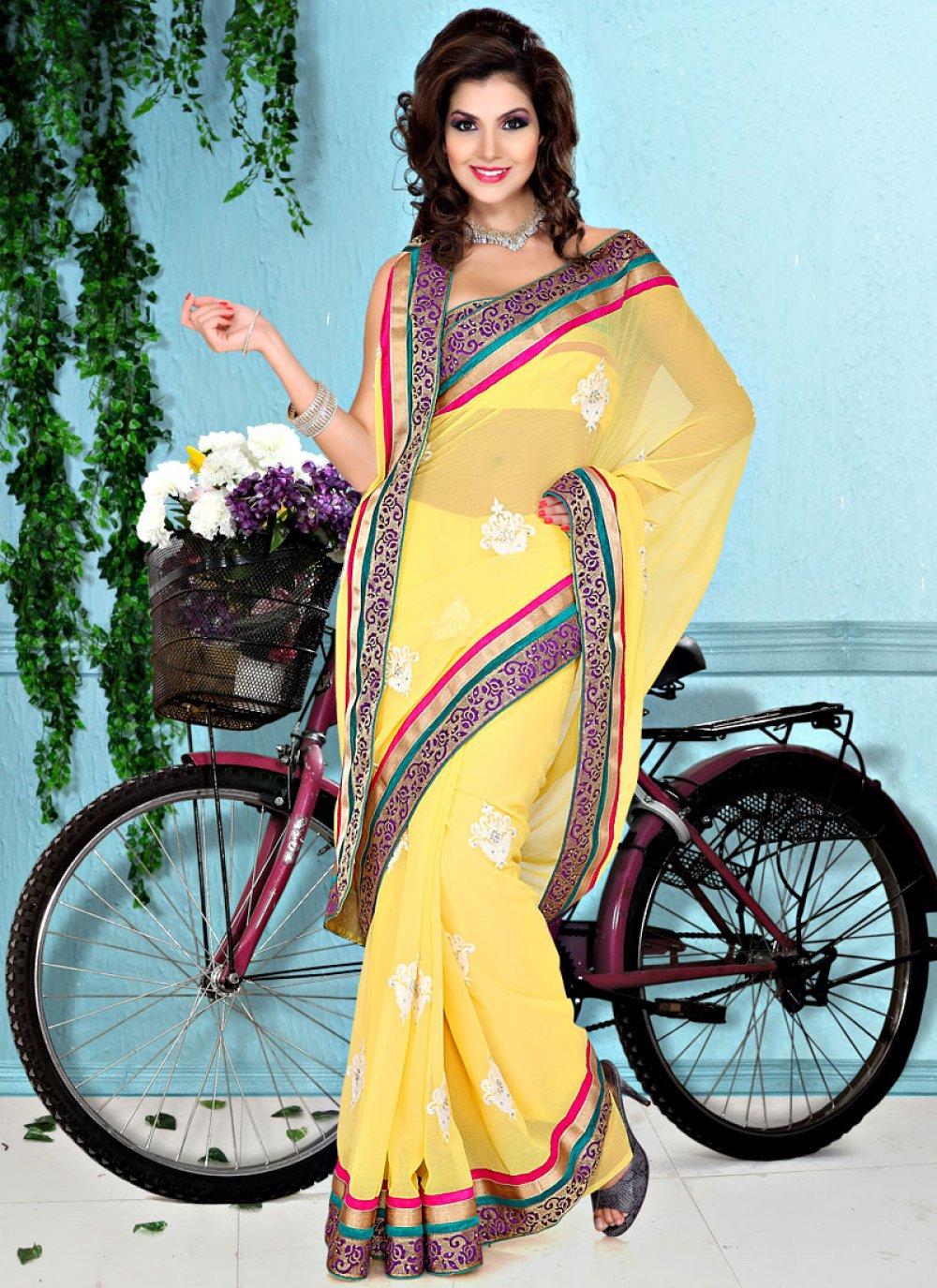Simple Yellow Faux Chiffon Saree