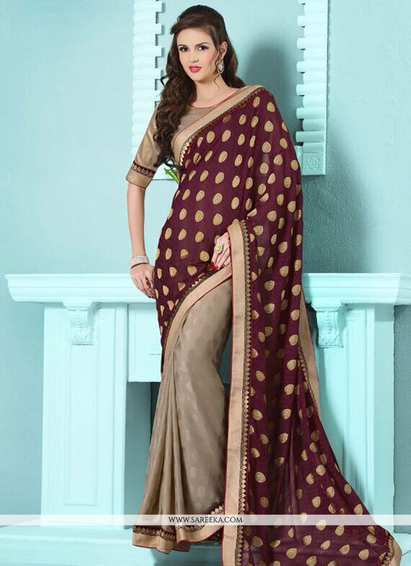 Brown and Wine Half N Half Designer Saree