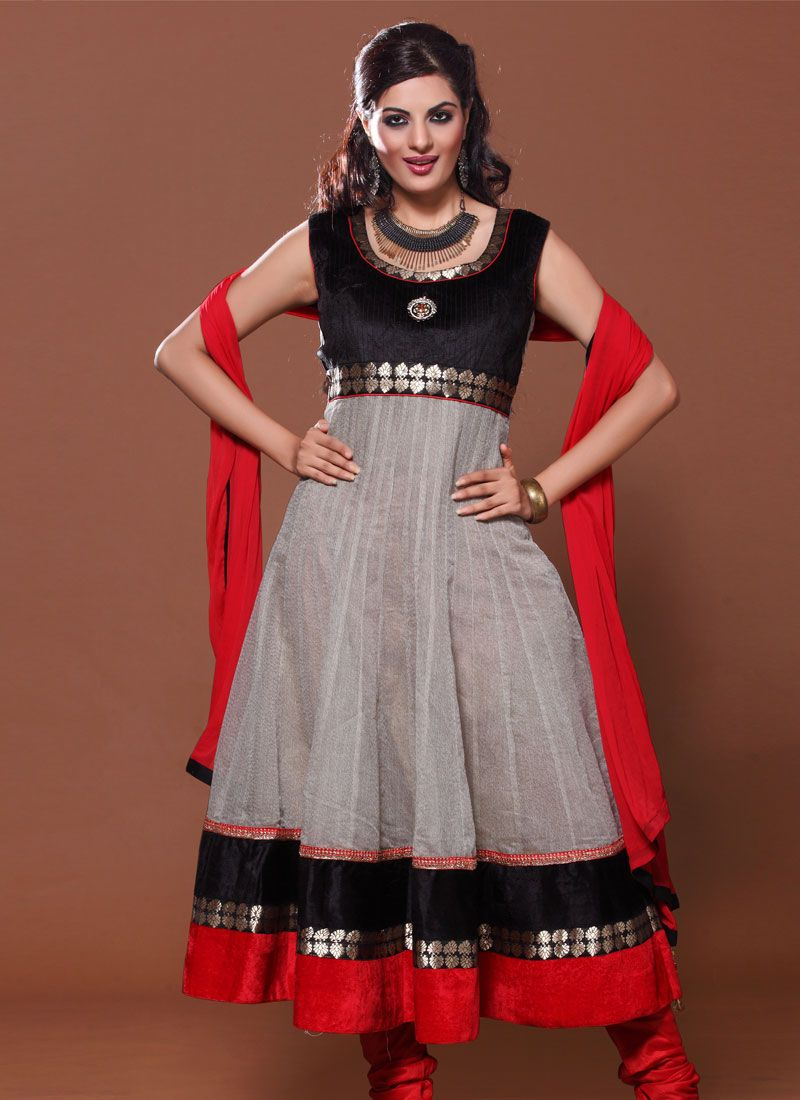 Grey And Black Lace Georgette Anarkali Suit