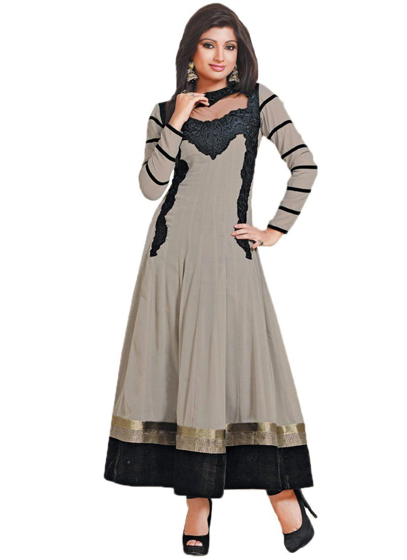 Grey Patch Border Ankle Length Anarkali Suit