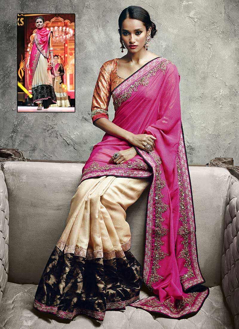 Pink Art Silk Sequins Work Traditional Saree