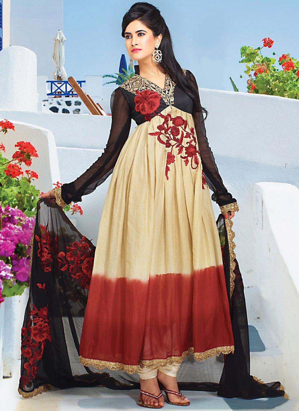 Sizzling Beige Faux Georgette Churidhar Suit