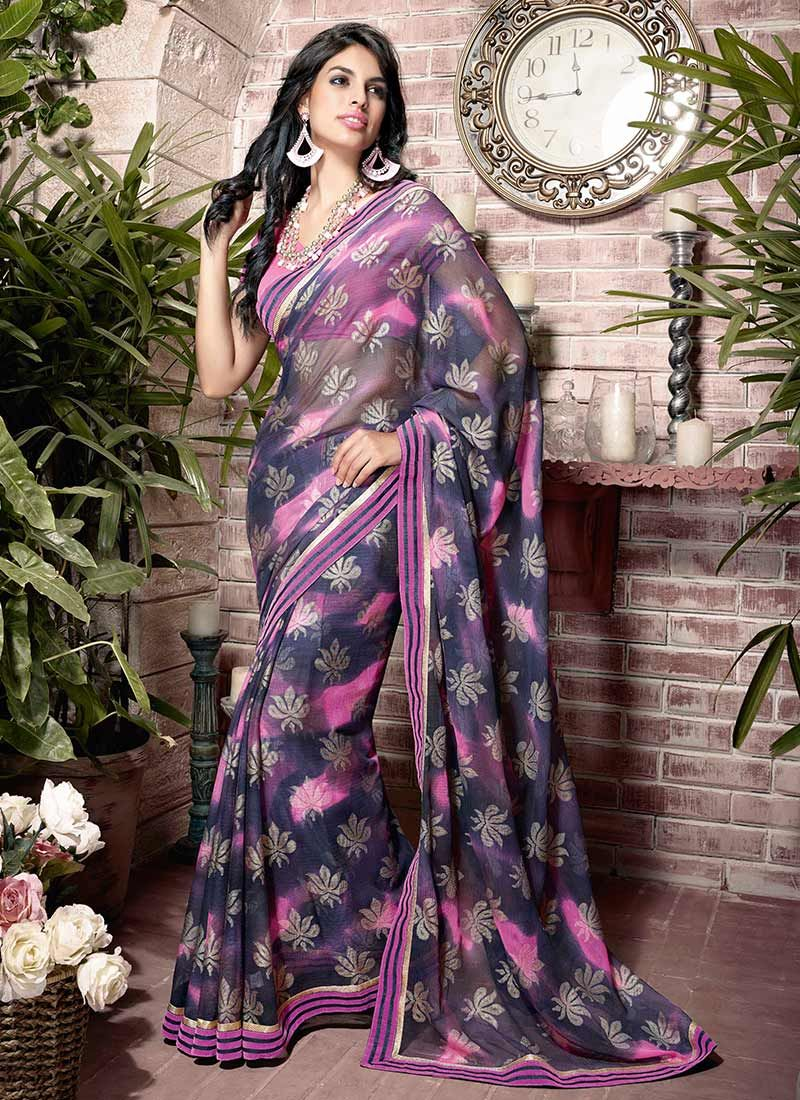 Sizzling Multicolor Printed Faux Georgette Saree
