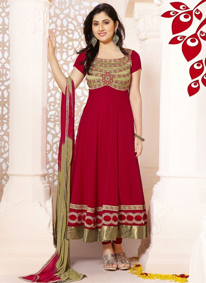Sizzling Red Patch Border Georgette Anarkali Suit