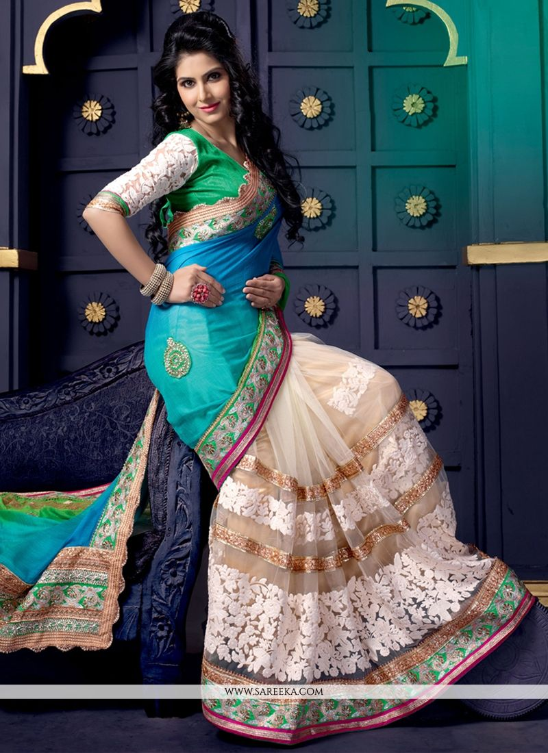 Sky Blue And Cream Net Designer Saree