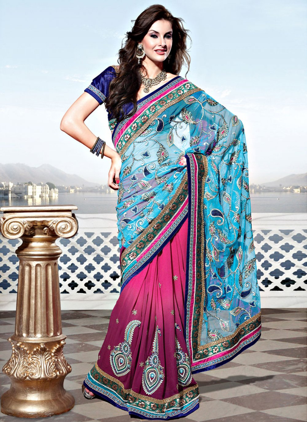 Sky Blue and Shaded Pink Net Georgette Saree