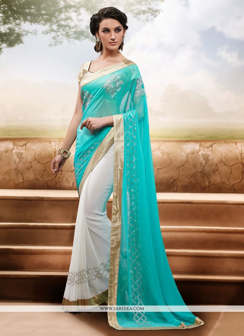 Sky Blue And White Chiffon Designer Saree