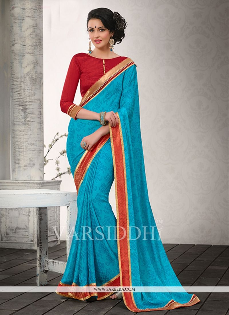 Sky Blue Chiffon Satin Casual Saree