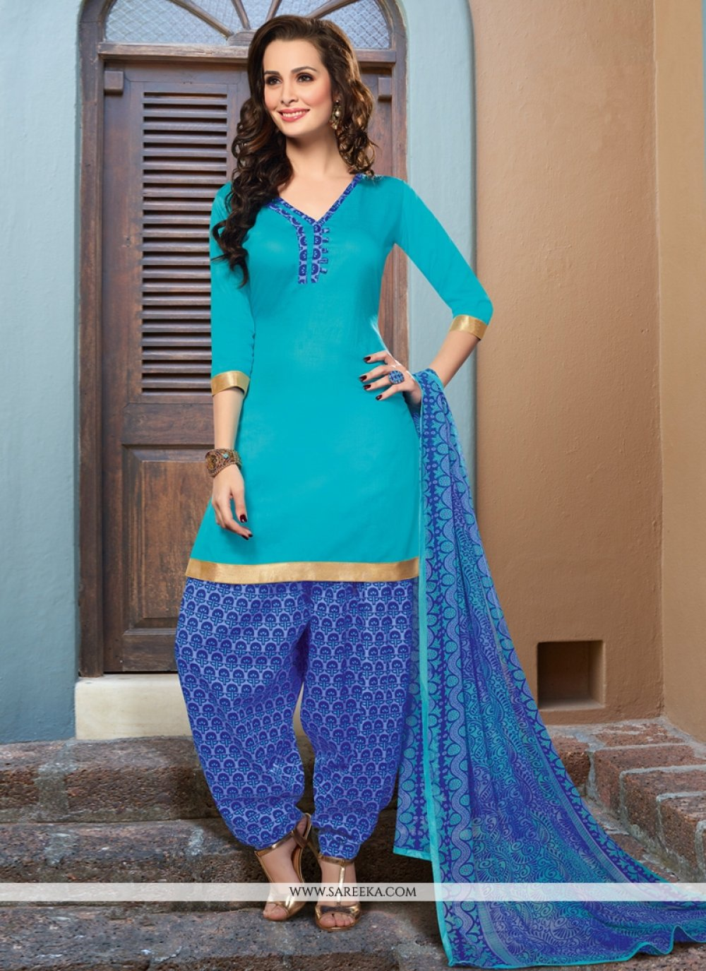 Sky Blue Cotton Satin Punjabi Suit