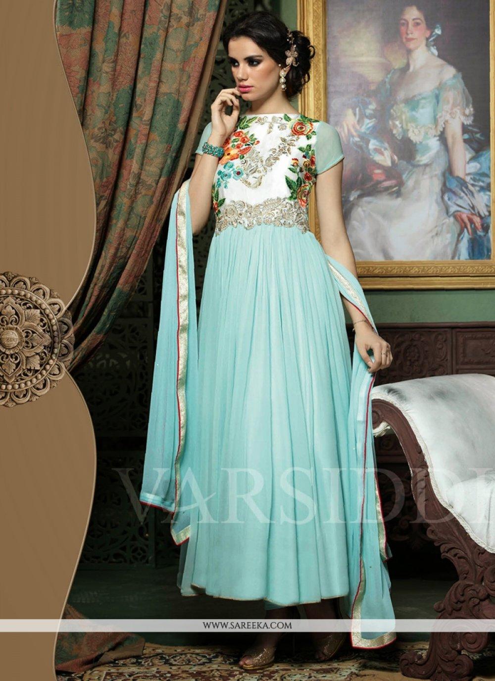 Sky Blue Georgette Anarkali Salwar Suit