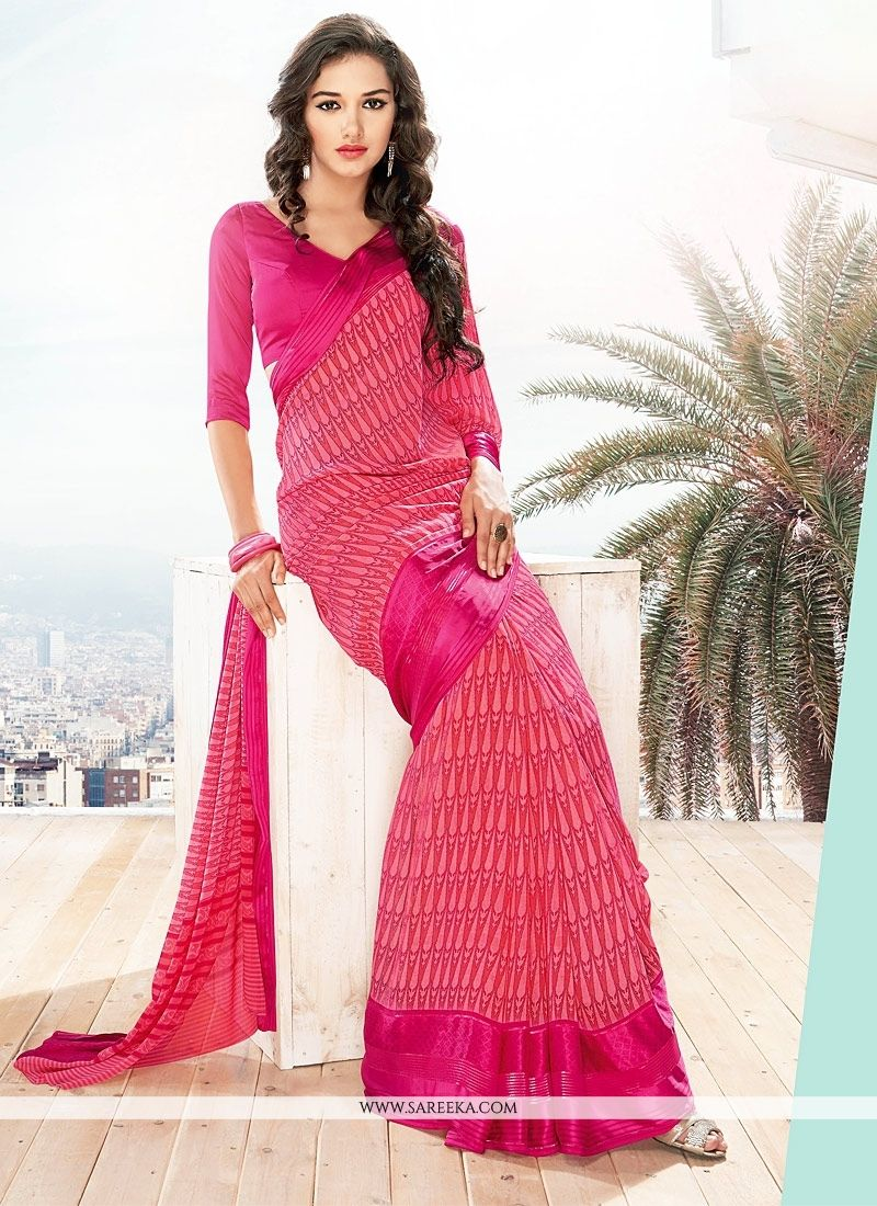 Hot Pink Lace Work Casual Saree
