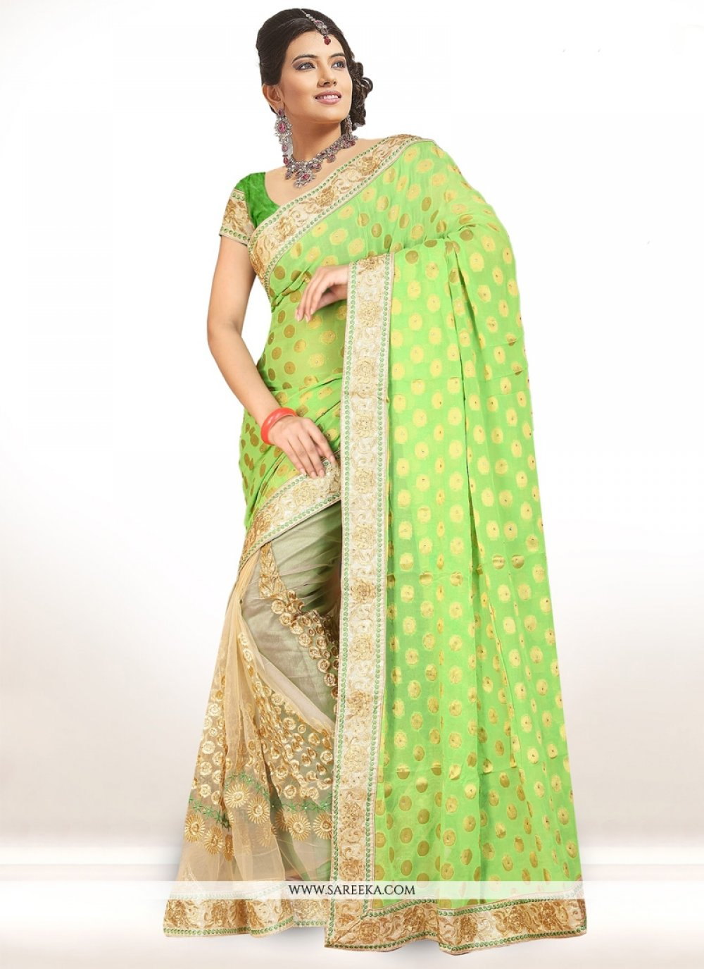 Patch Border Work Green Net Half N Half Designer Saree