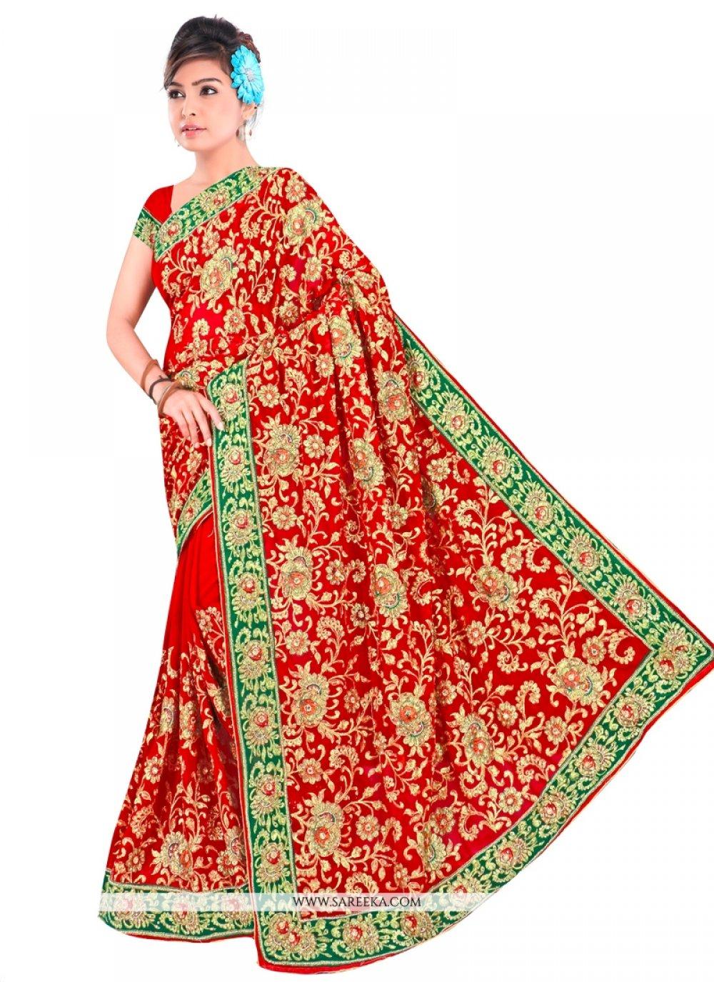 Zari Work Red Contemporary Style Saree