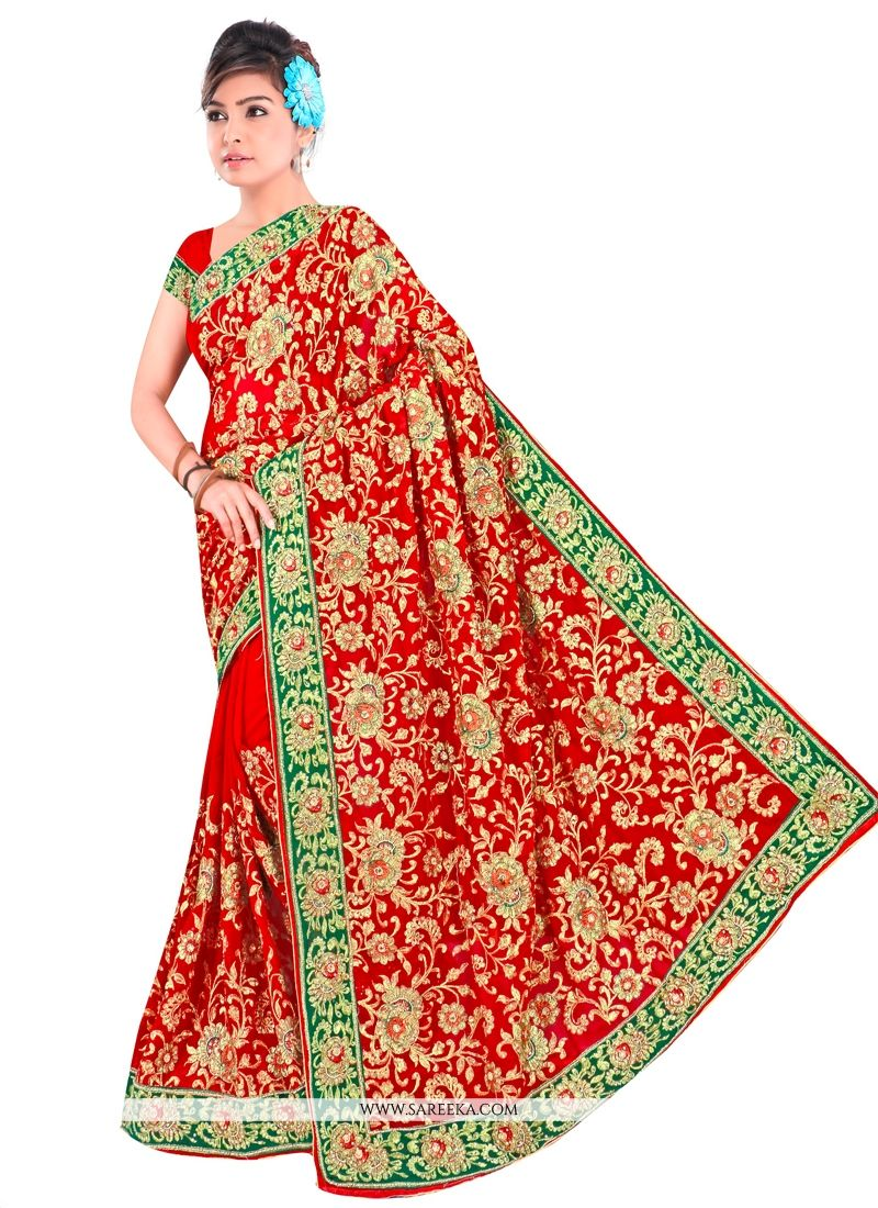Zari Work Red Contemporary Style Saree