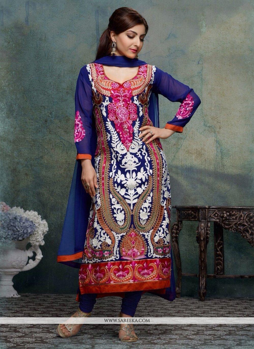 Soha Ali Khan Blue Georgette Churidar Salwar Suit