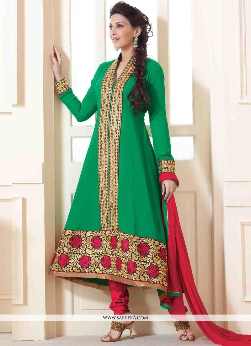 Sonali Bendre Green Anarkali Suit