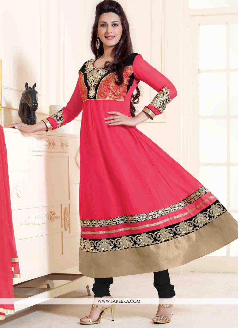 Sonali Bendre Hot Pink Anarkali Salwar Suit