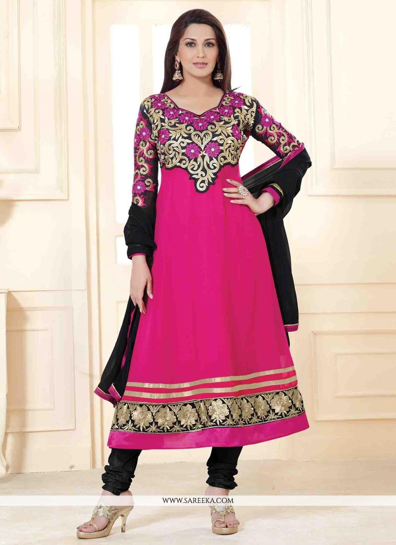 Sonali Bendre Hot Pink Georgette Anarkali Suit