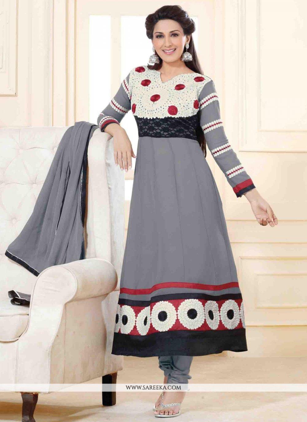 Sonali Bendre Lace Work Grey Anarkali Salwar Suit