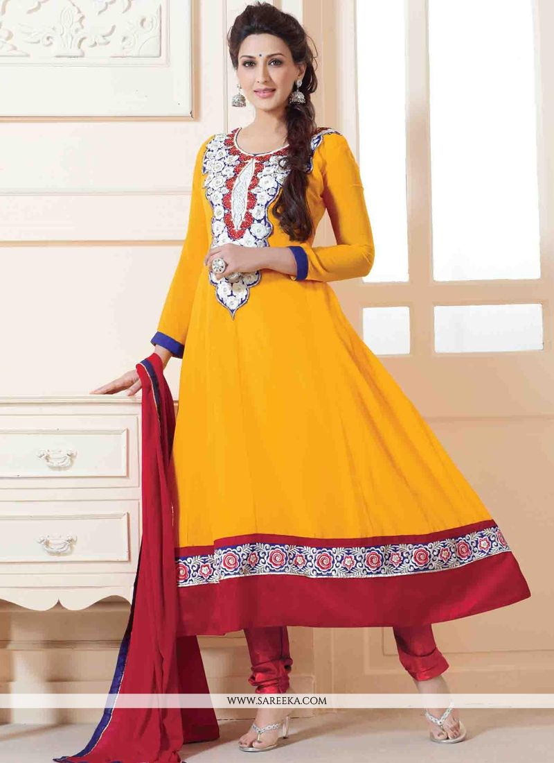 Sonali Bendre Yellow Anarkali Suit