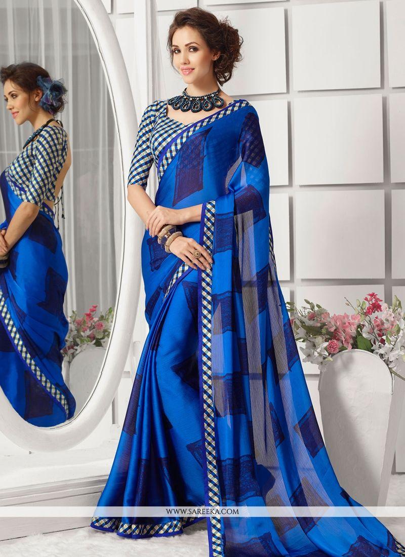 Blue Print Work Chiffon Satin Casual Saree