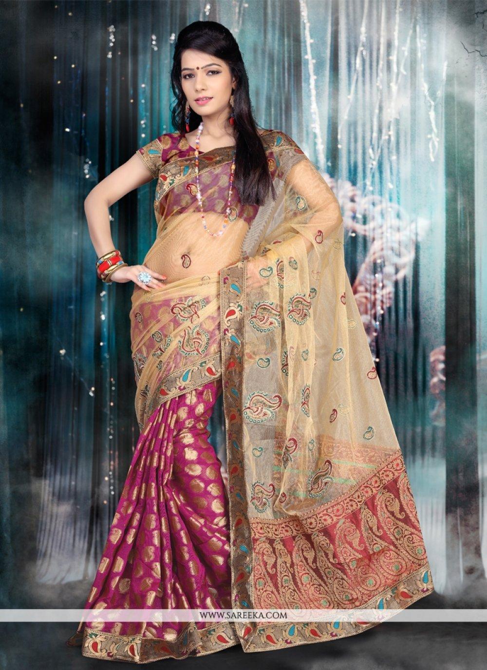 Chanderi Cotton Magenta Designer Saree