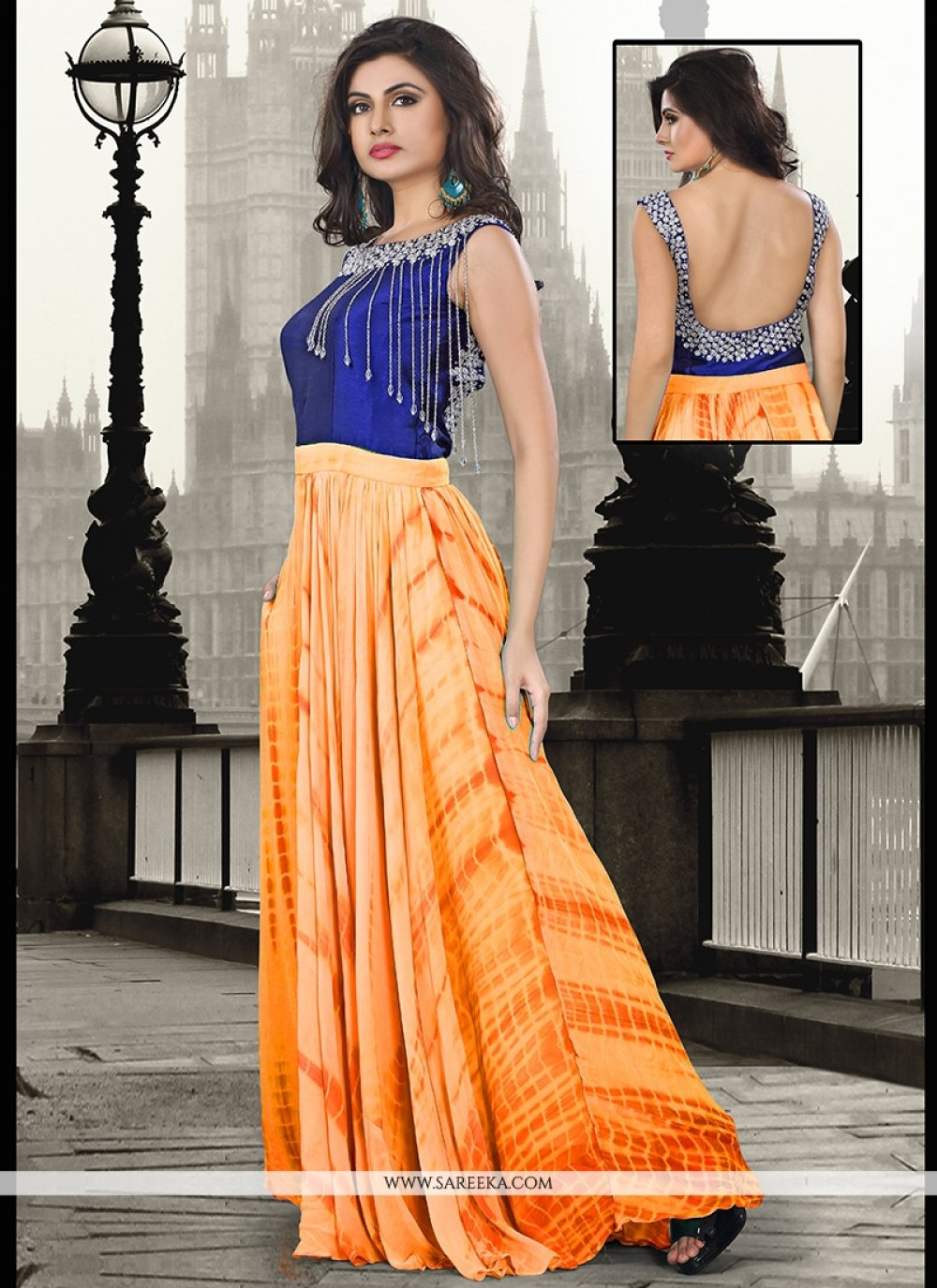 Embroidered Work Pure Georgette Orange Floor Length Gown