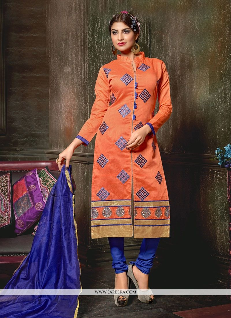 Lace Work Chanderi Orange Churidar Designer Suit