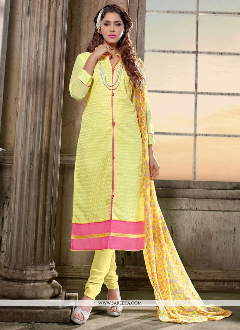 Lace Work Yellow Churidar Salwar Kameez