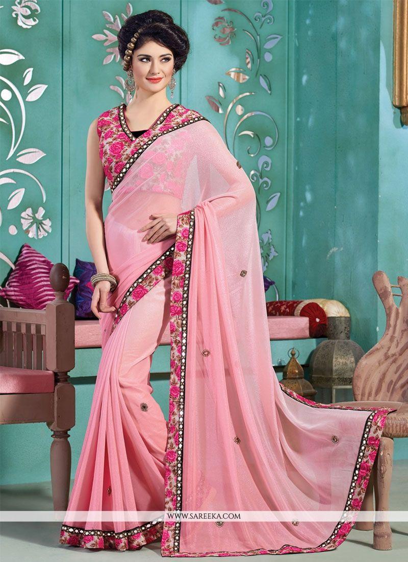 Lycra Pink Patch Border Work Designer Saree