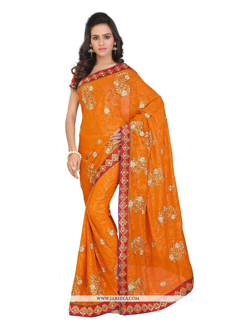Patch Border Work Orange Designer Saree