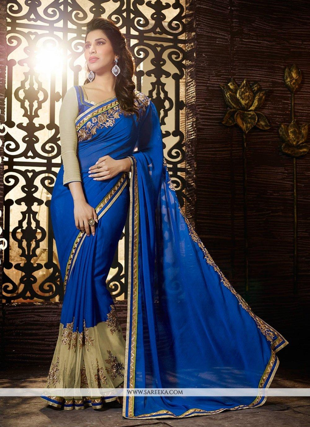 Sophie Chaudhary Blue Jacquard Designer Saree