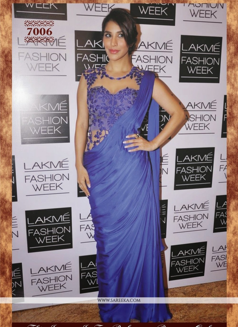 Sophie Chaudhary Embroidered Work Blue Designer Bollywood Saree