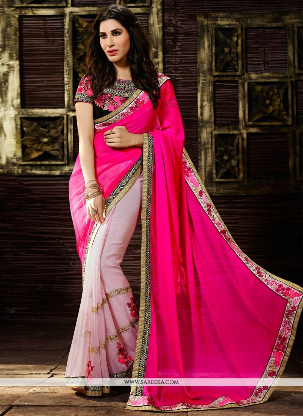 Sophie Chaudhary Embroidered Work Hot Pink Designer Saree