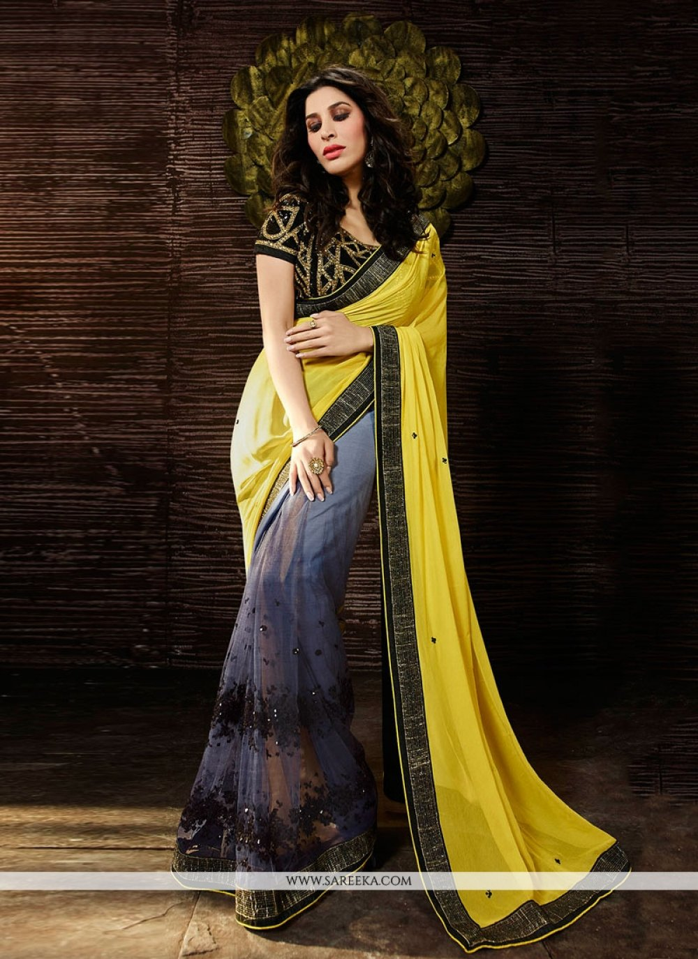 Sophie Chaudhary Georgette Embroidered Work Yellow Designer Saree