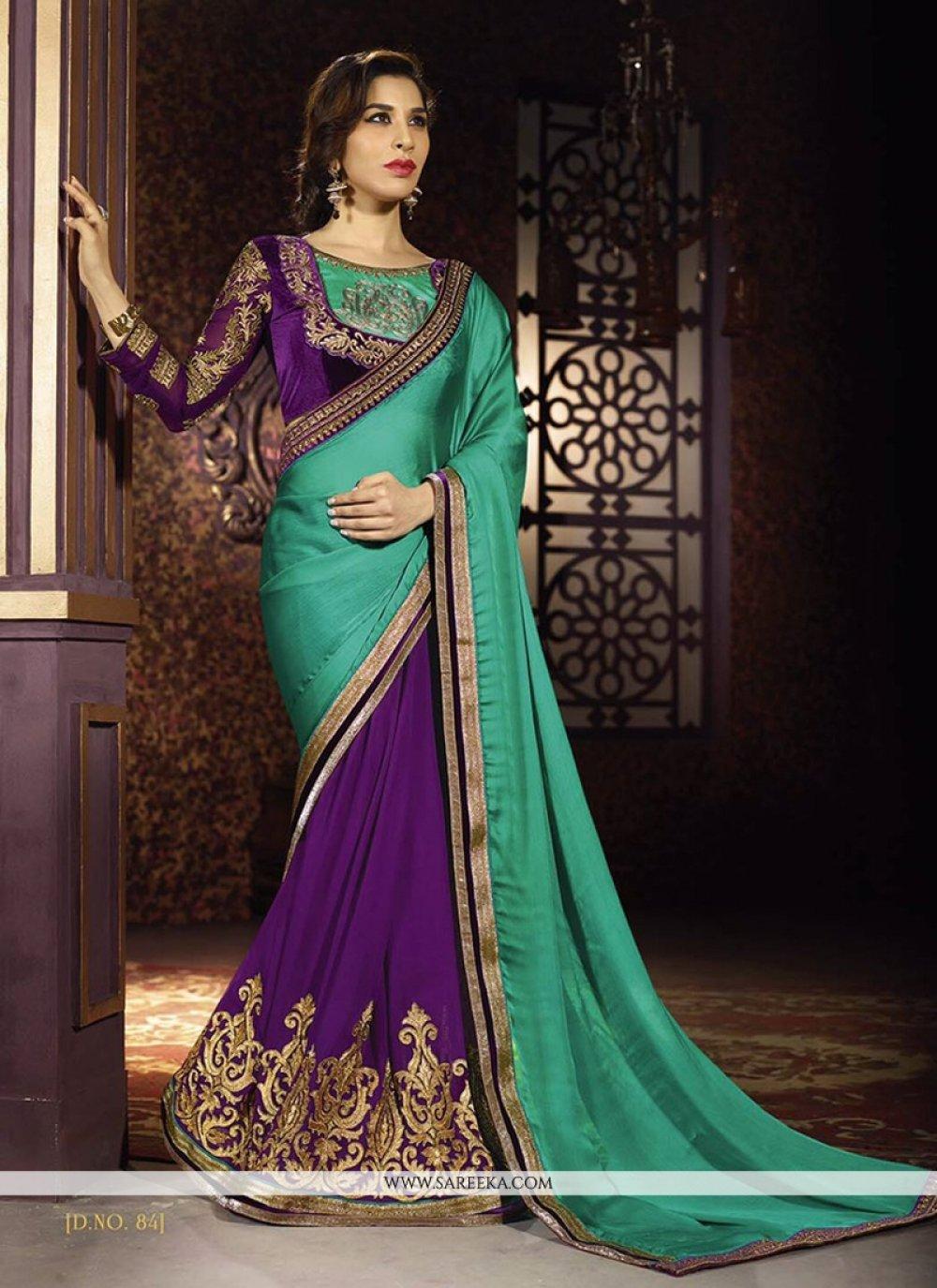 Sophie Chaudhary Green and Purple Half N Half Designer Saree