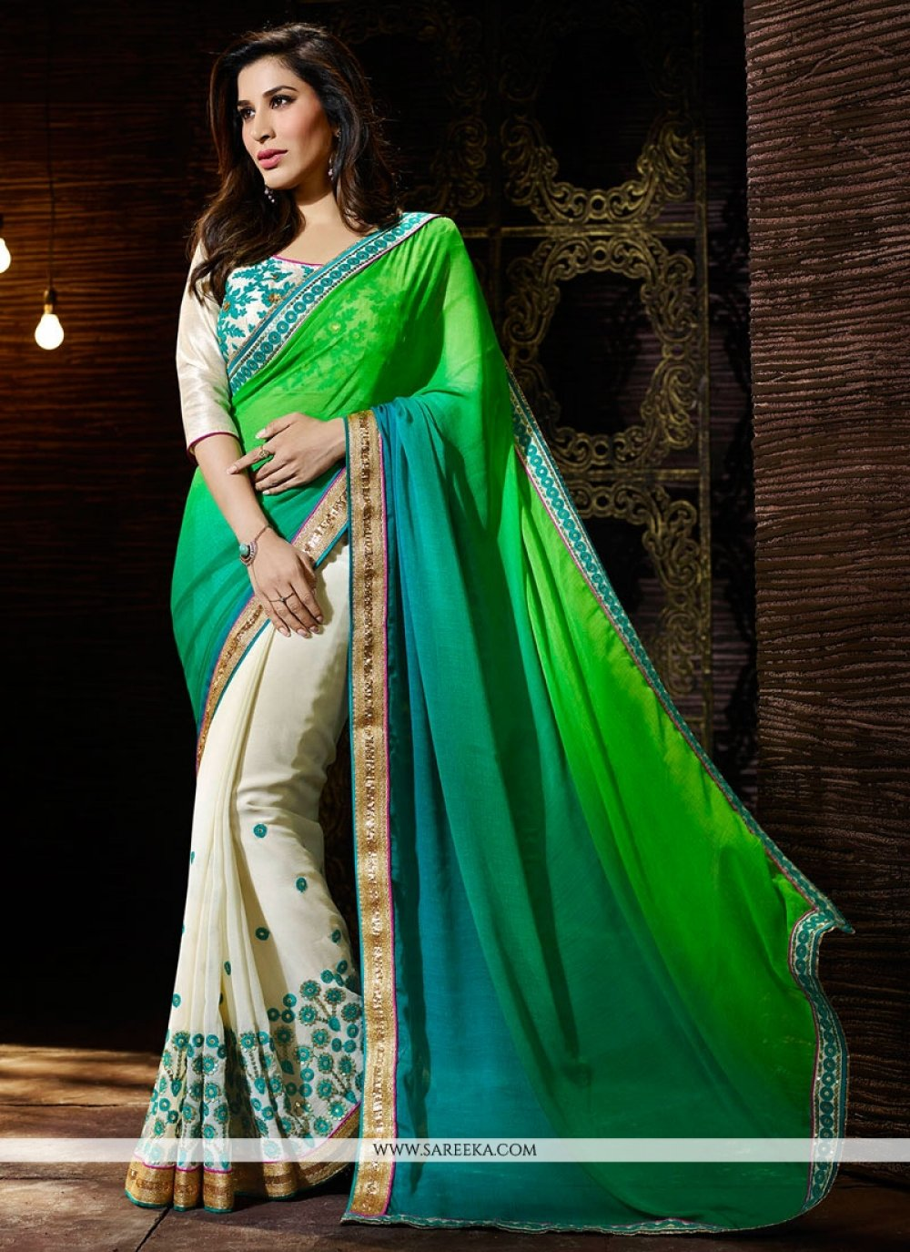 Sophie Chaudhary Green and Sea Green Designer Saree