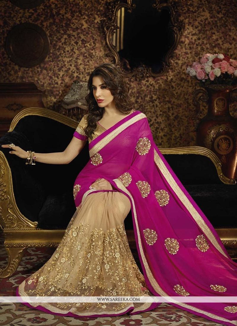 Sophie Chaudhary Hot Pink and Beige Georgette Zari Work Half N Half  Saree